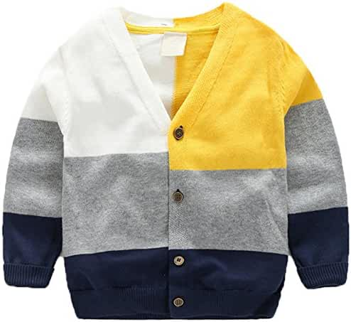 Baby Boys Basic Long Sleeve V-Neck Classic Knit Multicolor Button Front Cardigan Sweater