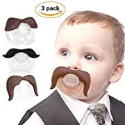 Baby Funny Pacifier Cute Kissable Mustache Lid Pacifier for Babies and Toddlers Unisex - BPA Free Latex Free Made with Silicone -Pack of 3 (Black&Coffee)