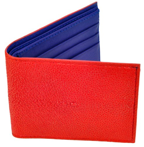 Stingray Leather Wallet, BiFold, 6 Credit Card Slots, Red w/Navy Blue Leather Interior (Stingray Red)
