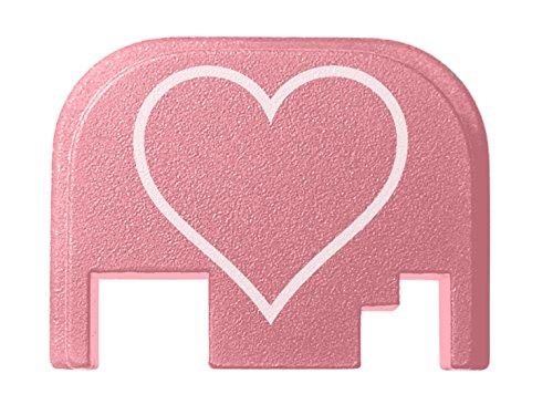 for Glock Gen 1-4 17 19 21 22 23 27 30 34 36 41 Back Plate Pink NDZ Heart Outline