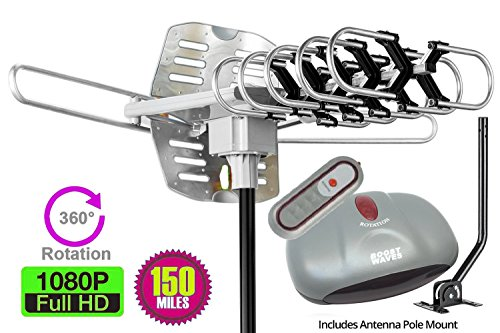 Price comparison product image Outdoor Amplified Antenna Combo- 150 Miles Range - 360° Rotation - Wireless Remote, Jpole, Boost your HDTV Signal with BOOSTWAVES and get FREE TV!