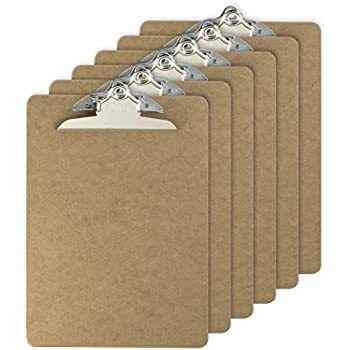 Officemate Letter Size Wood Clipboards, 6 Inch Clip, 6 Pack Clipboard, Brown (83706)