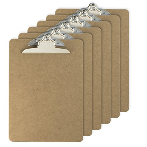 Officemate Letter Size Wood Clipboards, 6 Inch Clip, 6 Pack Clipboard, Brown (83706) by Officemate