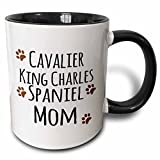 3dRose 3dRose Cavalier King Charles Spaniel Dog Mom - Doggie by breed - brown muddy paw prints - doggy lover owner - Two Tone Black Mug, 11oz (mug_154093_4), , Black/White