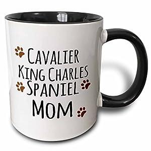 3dRose 154093_4 Cavalier King Charles Spaniel Dog Mom Mug, 11 oz, Black 46
