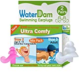 WaterDam Swimming Ear Plugs for Teens Youth Women Adult who-not-Sure-About-Size, 2 Pairs Size-Mix Pack ( Kids 4-14 Pink and Adult White) Ultra Comfy Waterproof Earplugs