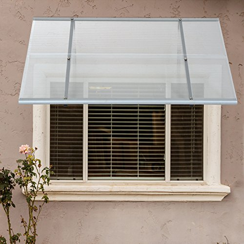 Festnight Patio Door Window Awning Polycarbonate Transparent Black