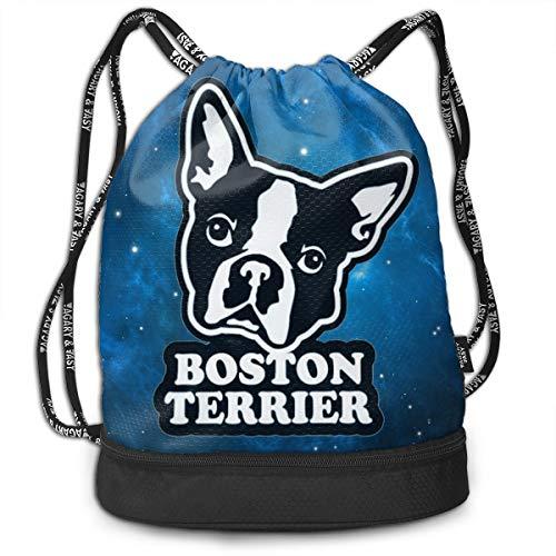 Zhangyi Boston Terrier Drawstring Backpack Sports Gym Cinch Sack Bag for Men & Women Sackpack Dance -