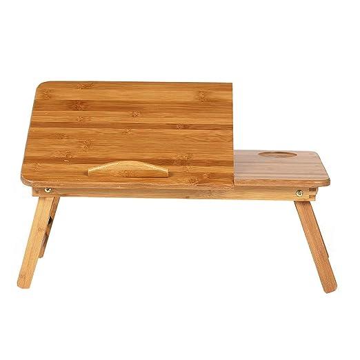 Mesa Ordenador Portátil Plegable, Escritorio de Bambú para Cama o ...