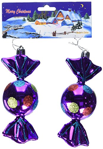 Perfect Holiday Handpainted 2-Piece Shatterproof Christmas Ornament Set, 5-Inch, Shiny Purple Candy ()