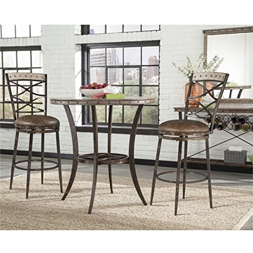 Bowery Hill 3 Piece Pub Set in Washed Gray