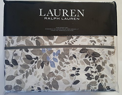 (Lauren Ralph Lauren King Size Sheet Set Botanical Garden Devon Leaves Floral Neutral Blue Browns Gray on Cream 100% Cotton)
