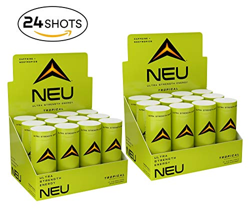 NEU Extra Strength Nootropic Energy Shots, Energy Drink: Brain Booster Focus Supplement, Coffee Alternative Nutritional Drink + Pre Workout with Zero Sugar – Tropical Punch 2oz (24 Pack)