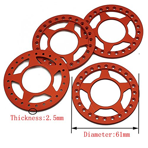 Beadlock 2.2 Ring (4 Pcs Alloy Replacement Wheel Beadlock Ring for 1/10 Axial Wraith RC Crawler Car 2.2