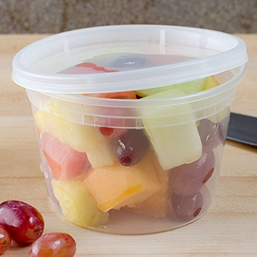12 Pack of 16 oz Take-out BPA Free Plastic and Microwaveable Containers with lid (Plastic Colored Tubs)