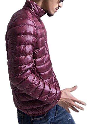 Basamento Caldo Rosso Cappotto Leggero Collare Piumino Inverno Capispalla Mk988 Mens Vino Del t7qAAH