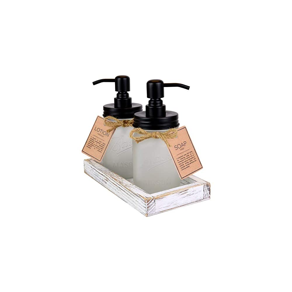 Marino Essentials Frosted Mason Jar Soap Dispenser 16oz Set of 2 with Hand Made Farmhouse Rustic Tray | Multi Purpose…
