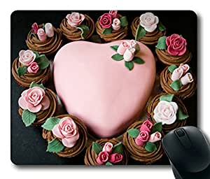 Heart Shape Rose Cake Limited Design Oblong Mouse Pad by Cases & Mousepads