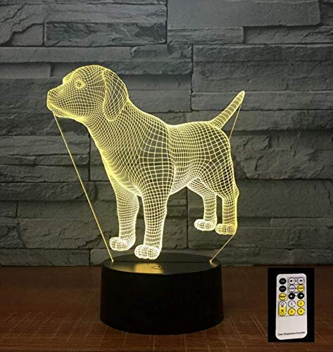 QiXian Night Light Wall Lamp Led Lamp Labrador Dog Puppy Buddy 3D Led Lamp with 7 Colors Change USB Cable or 3Aa Battery Power Bedroom Light Ing Novelty Gifts Kids for Kitchen Bedroom Living Room