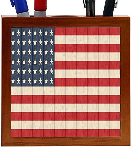Rikki Knight America Flag on Distressed Wood Design 5-Inch Wooden Tile Pen Holder (RK-PH8615)