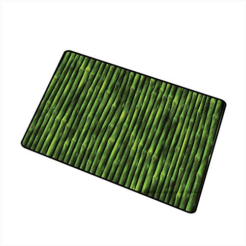 (Jbgzzm Stylish Commercial Grade Entry pad Bamboo Decor Bamboo Stems Pattern Tropical Nature Inspired Background Print Asian Wildlife Zen Decor W24 xL35 Non-Slip Backing Green)