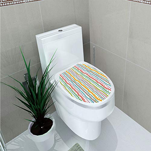 Toilet Cover Sticker,Striped,Vertical Abstract Featured Swirl Lines Curved Stylish Sketchy Bands and Dots Display,Multi,Custom Sticker,W12.6