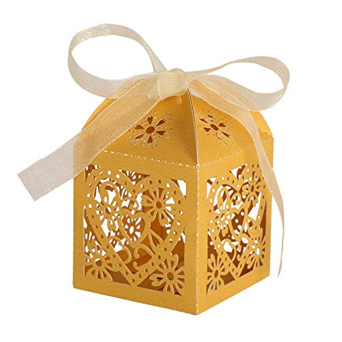 KEIVA 100 Pack Love Heart Laser Cut Wedding Party Favor Box Candy Bag Chocolate Gift Boxes Bridal Birthday Shower Bomboniere with Ribbons (Gold, -