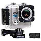 WiMiUS Action Camera 4K HD 20MP Helmet Cam 30M Underwater Cameras 170 Degree Wide Angle 2.0'' LCD Screen Dual 1000mAh Batteries with Portable Package Waterproof Case and Kit of Accessories, L1, Silver