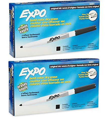 Expo Original Dry Erase Markers, Fine Point, 24-Pack, Black (2 X 12-Pack)...