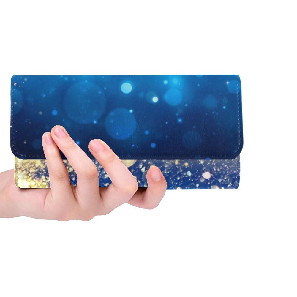 Unique Custom Shiny Arbre De Noël Golden Dust Glittering Femmes Trifold Portefeuille Longue Bourse Titulaire de la Carte de crédit Cas Sac À Main