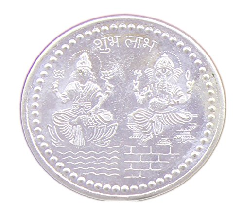 Puja Silver Coin - Guarantee Ornament House Plated Ganesh Laxmi Diwali Coin For Puja