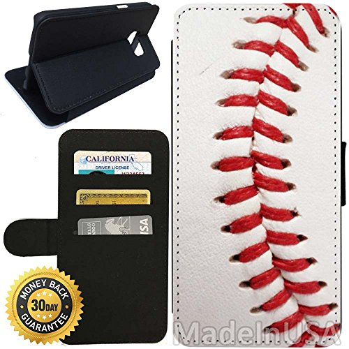 Flip Wallet Case for Galaxy S7 (Baseball Design) with Adjustable Stand and 3 Card Holders | Shock Protection | Lightweight | Includes Stylus Pen by - Stores Target Open Today