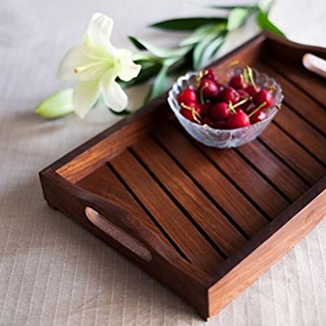 137a78bf320f Naaz Wood arts Wood Handcrafted Tray Handmade & Handcrafted Wooden Serving  Tray for Dining Tableware,