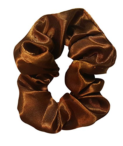 Satin Hair Scrunchies (4 Pack) (Brown)