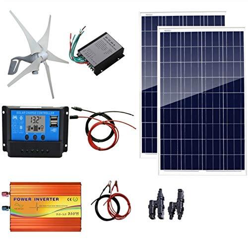 AUECOOR 600 Watts Wind Solar Powered System(Hybrid System Kit): 1pc 12V/24V 400W Wind Generator + 2pcs 100W Polycrystalline Solar Panel + 500W Pure Since Wave Inverter(Peak 1000W)+Accessories ()