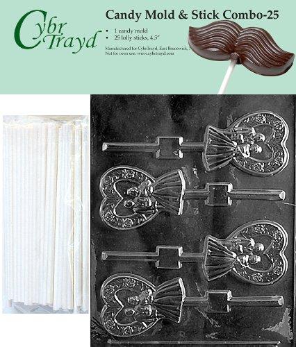 Cybrtrayd 45St25-W053 Heart Bride & Groom Lolly Chocolate Candy Mold with 25 Cybrtrayd 4.5