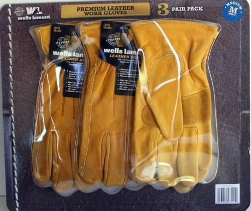 Wells Lamont Premium Leather Work Gloves 3 Pair Pack Medium by Wells Lamont (Image #1)