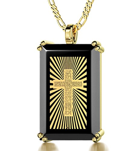Gold Plated Men's Cross Necklace - Soldier Cross Pendant with Psalm 23 Inscribed in 24k Gold onto a Black Onyx, 20'' Gold Filled Chain by Nano Jewelry