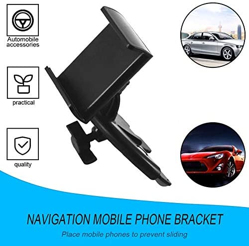 Universal Car Mobile Phone Support Bracket Holder CD Player Slot 360 Degree Adjustable Clip ABS Stand for Vehicle Supplies-Black