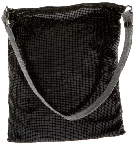 Whiting and Davis Soft Flat Mesh Hobo,Black,one size, Bags Central