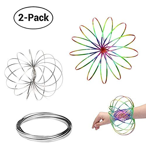 Acomon Flow Ring 2 Pack Magic Flow Ring Kinetic Spring Toy 3D Interactive Spinner Game Toy Gifts for Kids Boys Girls(Silver+Rainbow)