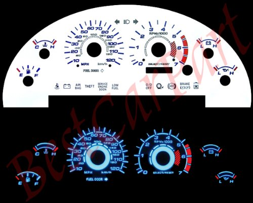 99-04 Ford Mustang V6 WHITE GLOW EL (99 Reverse Speed Glow Gauges)