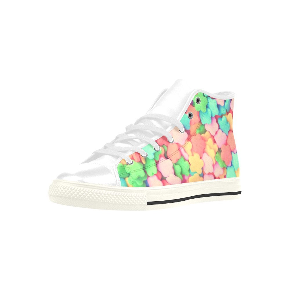 HUANGDAISY Colorful Sprinkles Flower High Top Action Leather Mens Shoes
