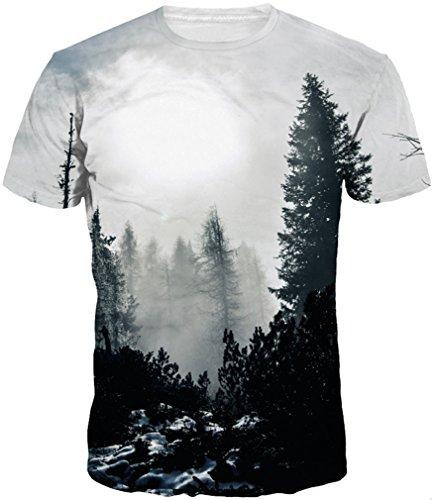 Imbry Men Unisex 3D Galaxy Printed T-Shirts Funny Blouse Short Sleeve Tank  Top (XXXL, Black Forset) 4af588e2bb11