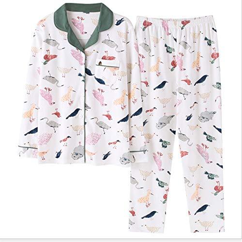 Femminile Pigiama Sonno Set 2018 Photo Vestire Maniche Fresco Vestito Homewear Mmllse Color Pigiama Stampa Lunghe Di A Pigiama Uccello Notturno qnf4Swzv8