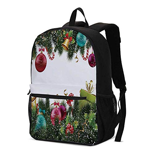 Christmas Fashional Backpack,Happy New Year Greeting Decoration with Holly Garland Artful Design for School Travel,12.2