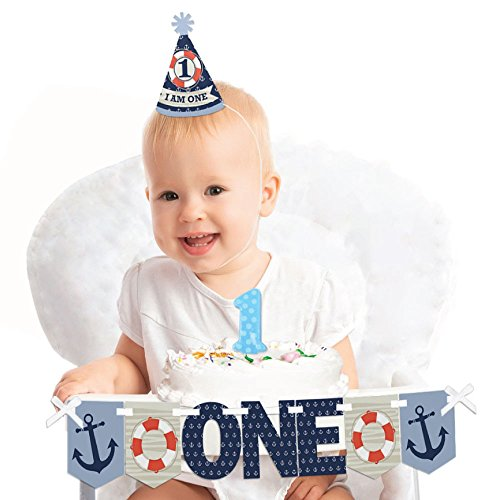 Big Dot of Happiness Ahoy - Nautical 1st Birthday - First Birthday Boy Smash Cake Decorating Kit - High Chair -