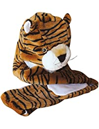 Plush Faux Fur Animal Critter Hat Cap - Soft Warm Winter Headwear - Short with Ear Poms and Flaps & Long with Scarf and Mittens available (Tiger - 3pc Scarf & Mittens)