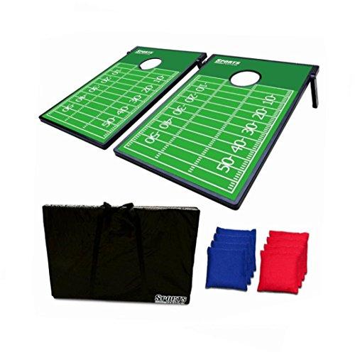 Dreamyth 2-in-1 Cornhole Bean Bag Toss Game and Tic Tac Toe - Football Field,American Warehouse Shippment ()