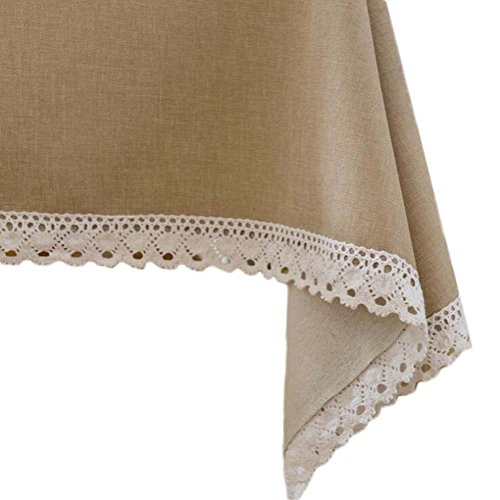 (Topmodehome Bright Solid Color Tablecloth RectangularThickened Elegant Lacework for End Table/Dining Table/Writing Desk (55''x55'', beige))
